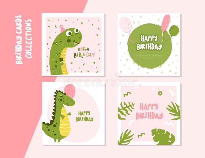 Sistema de tarjeta cuadrado del feliz cumpleaños con el carácter lindo de Dino Invitación del acontecimiento de los niños libre illustration