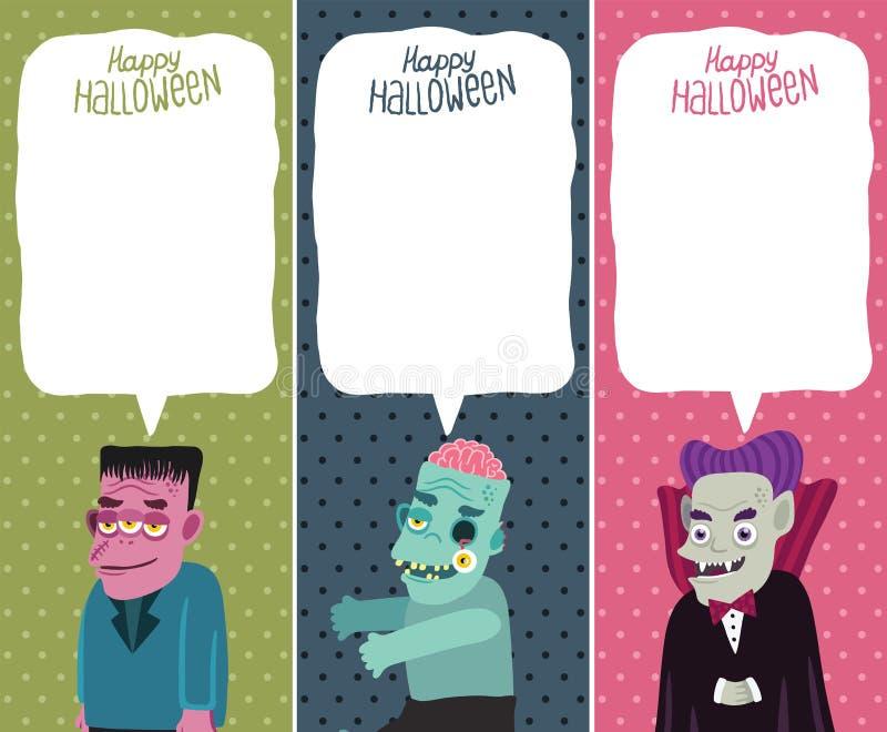 Sistema de tarjeta de Halloween con el monstruo, zombi, Drácula. ilustración del vector