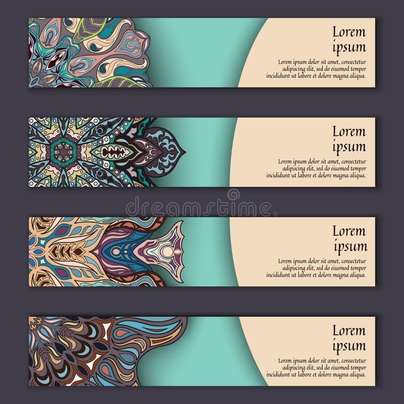 Sistema de tarjeta de la bandera con el fondo decorativo colorido floral de los elementos de la mandala ilustración del vector