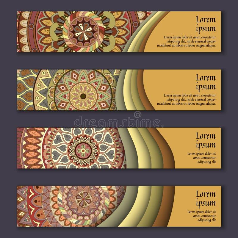 Sistema de tarjeta de la bandera con el fondo decorativo colorido floral de los elementos de la mandala stock de ilustración