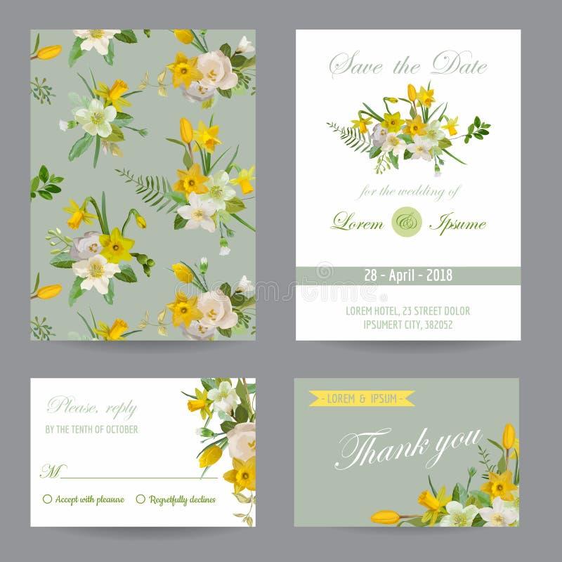 Sistema de tarjeta de la enhorabuena de la invitación de la boda Excepto la fecha ilustración del vector