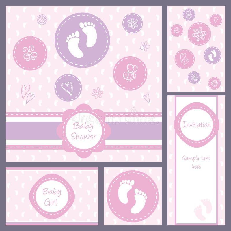 Sistema de tarjeta de la fiesta de bienvenida al bebé ilustración del vector