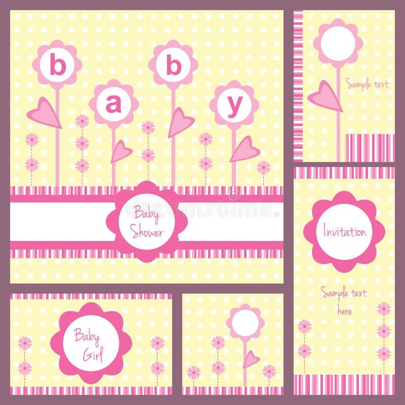 Sistema de tarjeta de la fiesta de bienvenida al bebé libre illustration