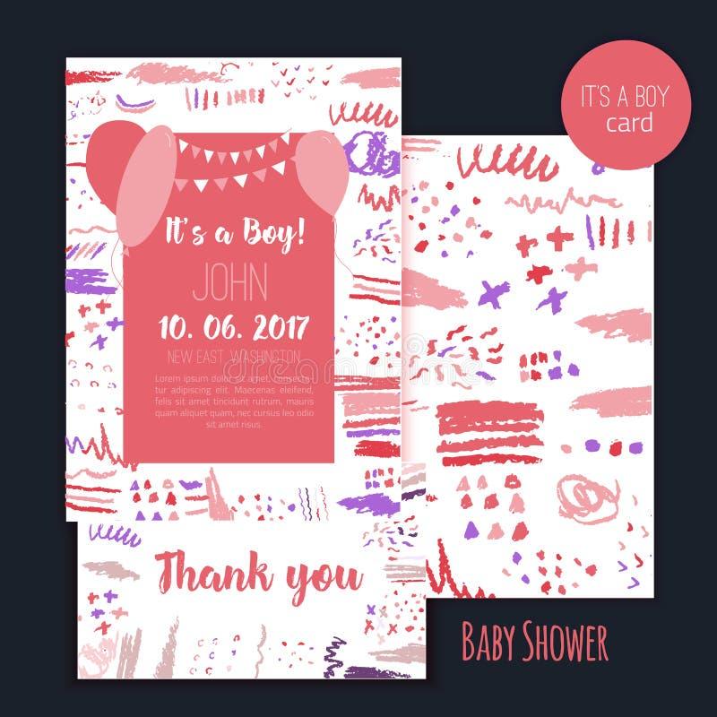 Sistema de tarjeta del cepillo de la fiesta de bienvenida al bebé del vector Él ` s un muchacho Diseño de letras Elemento para la ilustración del vector