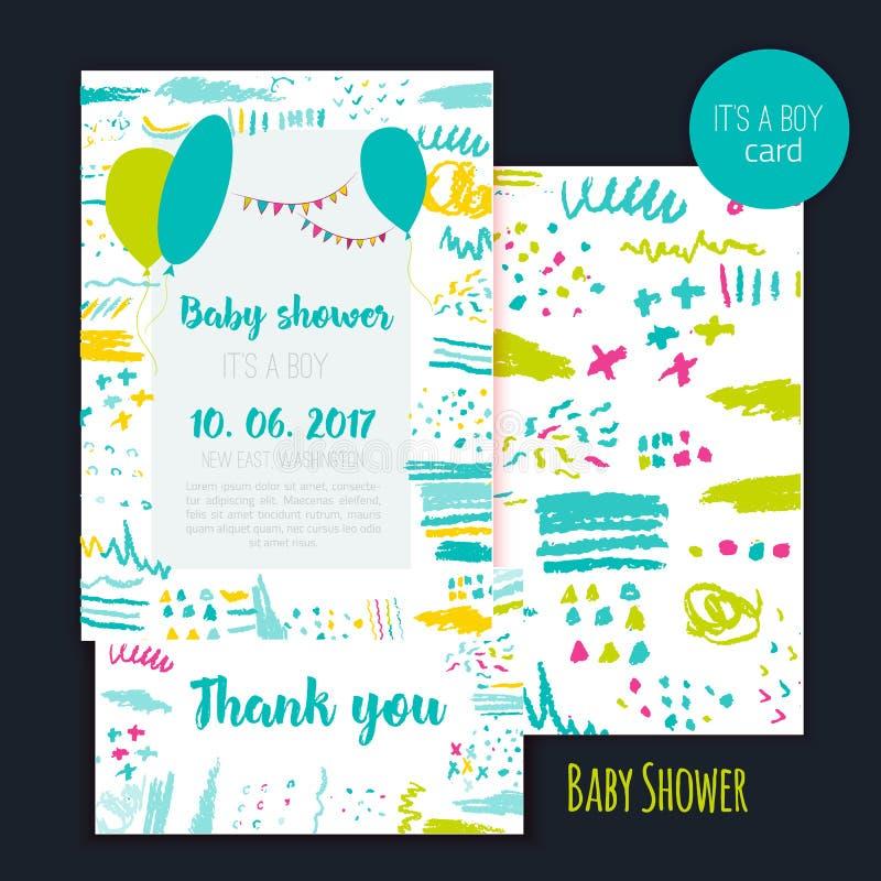 Sistema de tarjeta del cepillo de la fiesta de bienvenida al bebé del vector Él ` s un muchacho Diseño de letras Elemento para la stock de ilustración