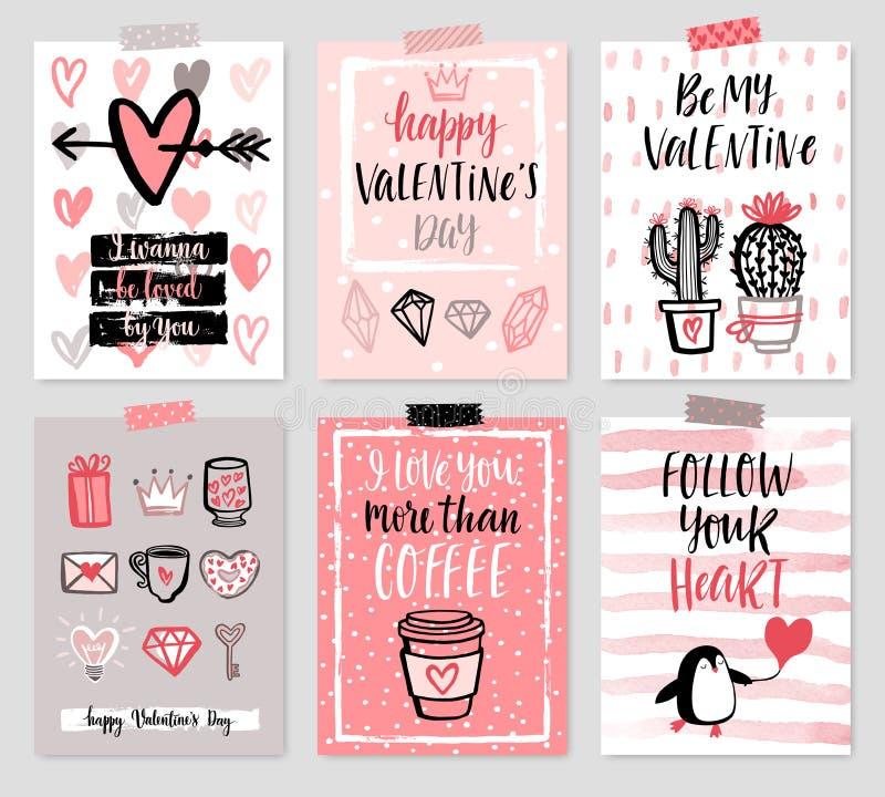 Sistema de tarjeta del día del ` s de la tarjeta del día de San Valentín - dé el estilo exhausto con caligrafía libre illustration
