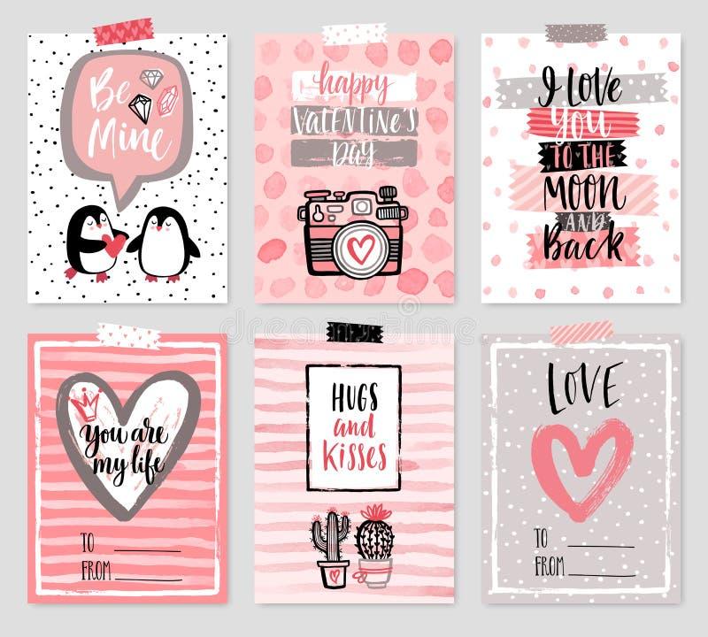 Sistema de tarjeta del día del ` s de la tarjeta del día de San Valentín - dé el estilo exhausto con caligrafía ilustración del vector