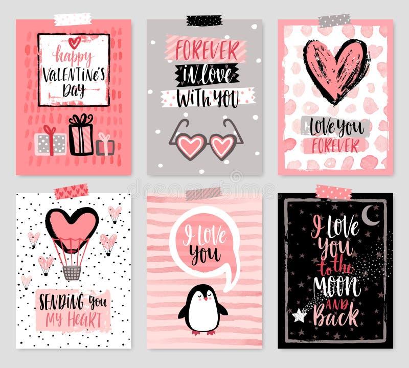 Sistema de tarjeta del día del ` s de la tarjeta del día de San Valentín - dé el estilo exhausto con caligrafía stock de ilustración
