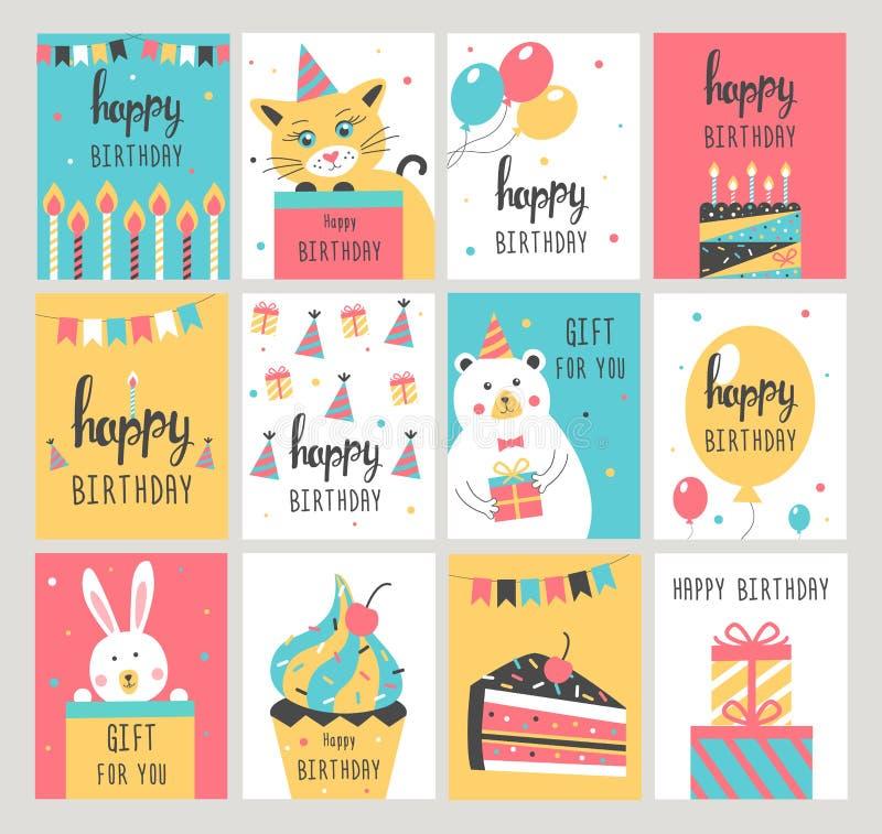 Sistema de tarjeta del feliz cumpleaños ilustración del vector
