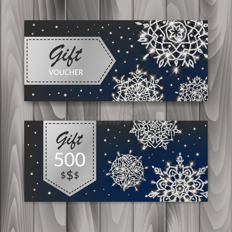 Sistema de tarjeta del vale de regalo de la Navidad Plantilla con los copos de nieve brillantes Ilustración del vector stock de ilustración