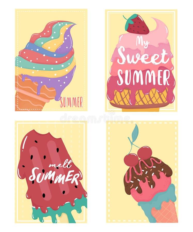 Sistema de tarjeta derretido dulce lindo de verano del helado stock de ilustración