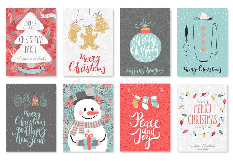 Sistema de tarjeta dibujado mano de la Navidad ilustración del vector