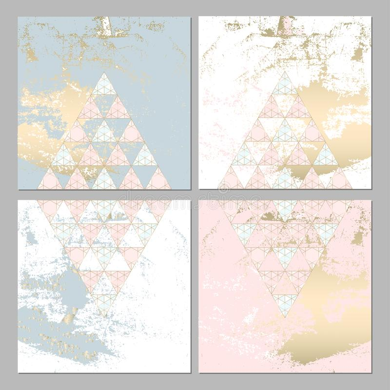 Sistema de tarjeta geométrico elegante stock de ilustración