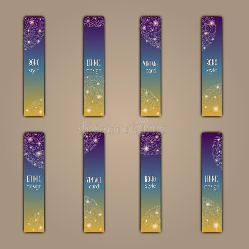 Sistema de tarjeta de la bandera con el fondo decorativo floral de los elementos de la mandala que brilla intensamente Tribal, ét stock de ilustración