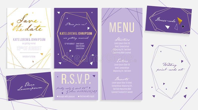 Sistema de tarjeta de lujo de la invitación de la boda para la ceremonia y la recepción fotografía de archivo