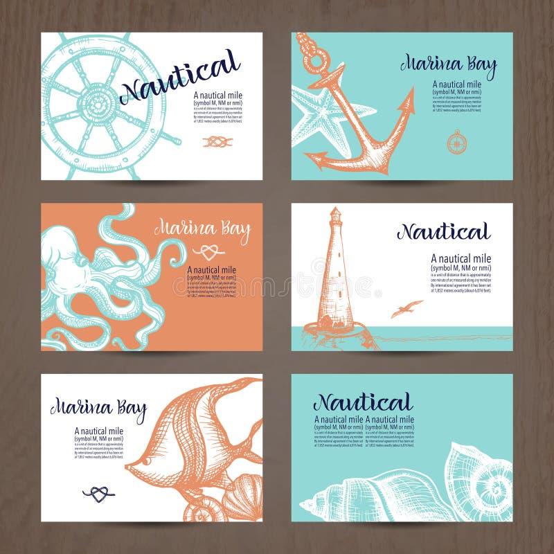 Sistema de tarjeta náutico stock de ilustración