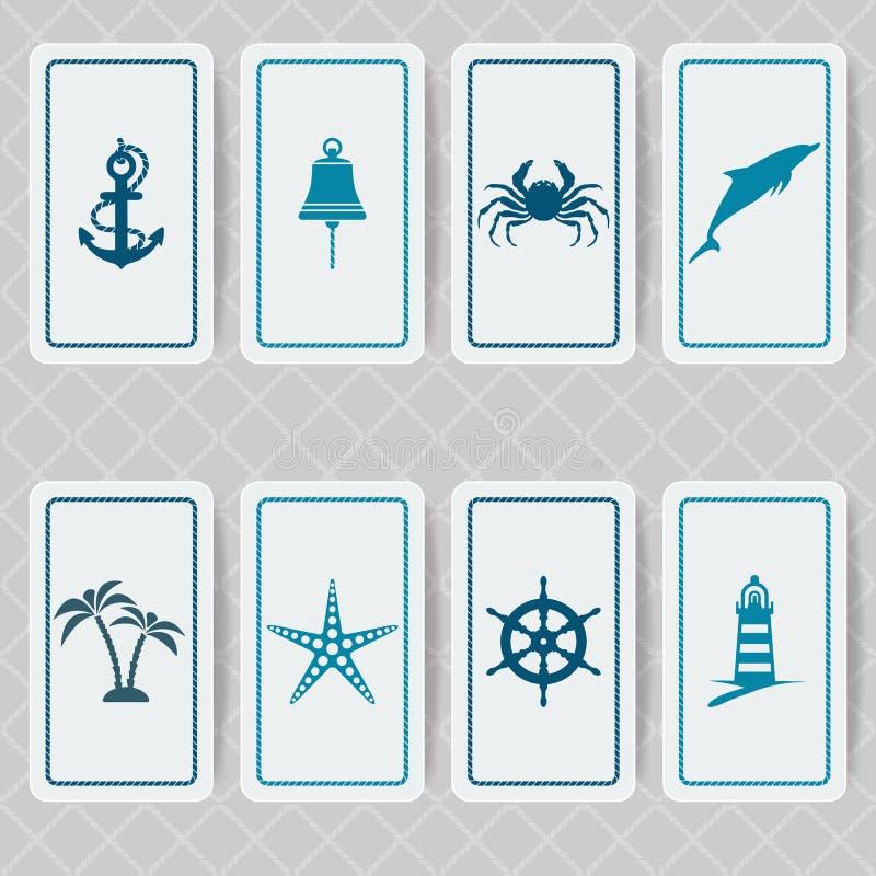 Sistema de tarjeta náutico de la invitación ilustración del vector