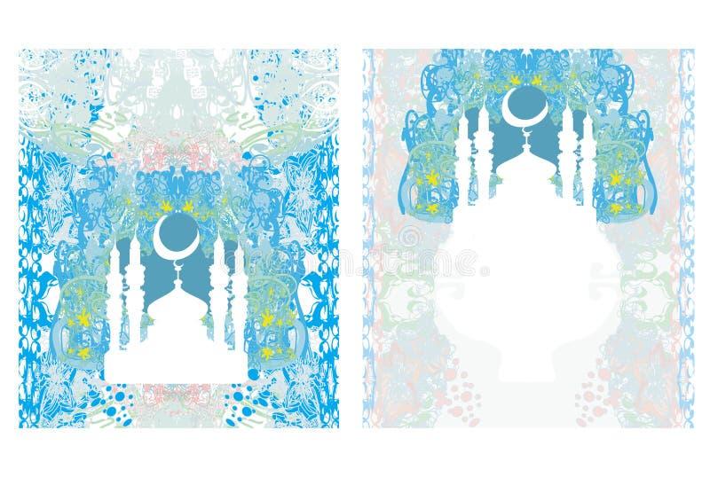 Sistema de tarjeta religioso abstracto - Ramadan Kareem Design ilustración del vector