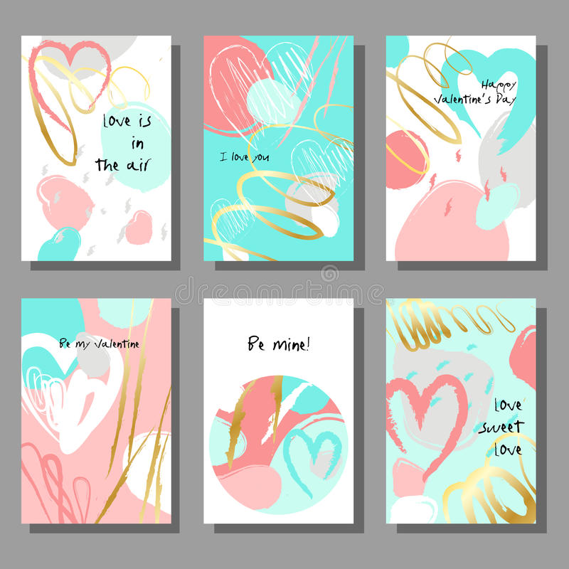 Sistema de tarjetas artístico creativo del día del ` s de la tarjeta del día de San Valentín Doodle el estilo stock de ilustración