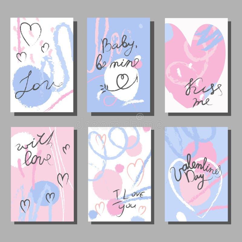 Sistema de tarjetas artístico creativo del día del ` s de la tarjeta del día de San Valentín Doodle el estilo libre illustration