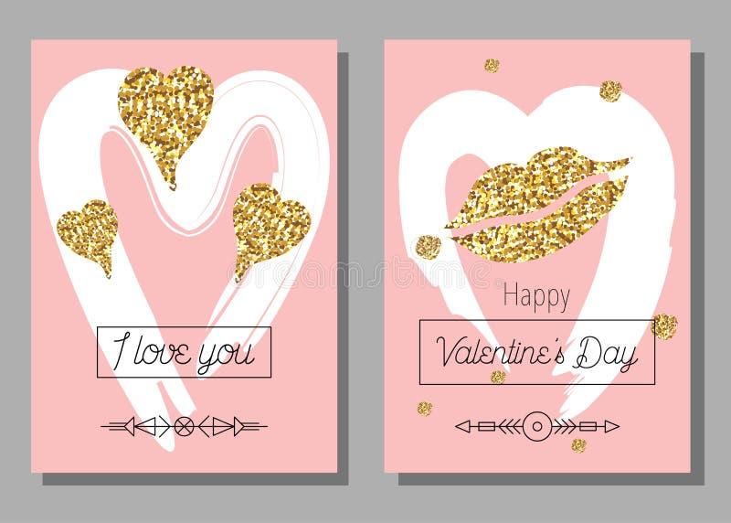 Sistema de tarjetas artístico creativo del día del ` s de la tarjeta del día de San Valentín Ilustración del vector stock de ilustración