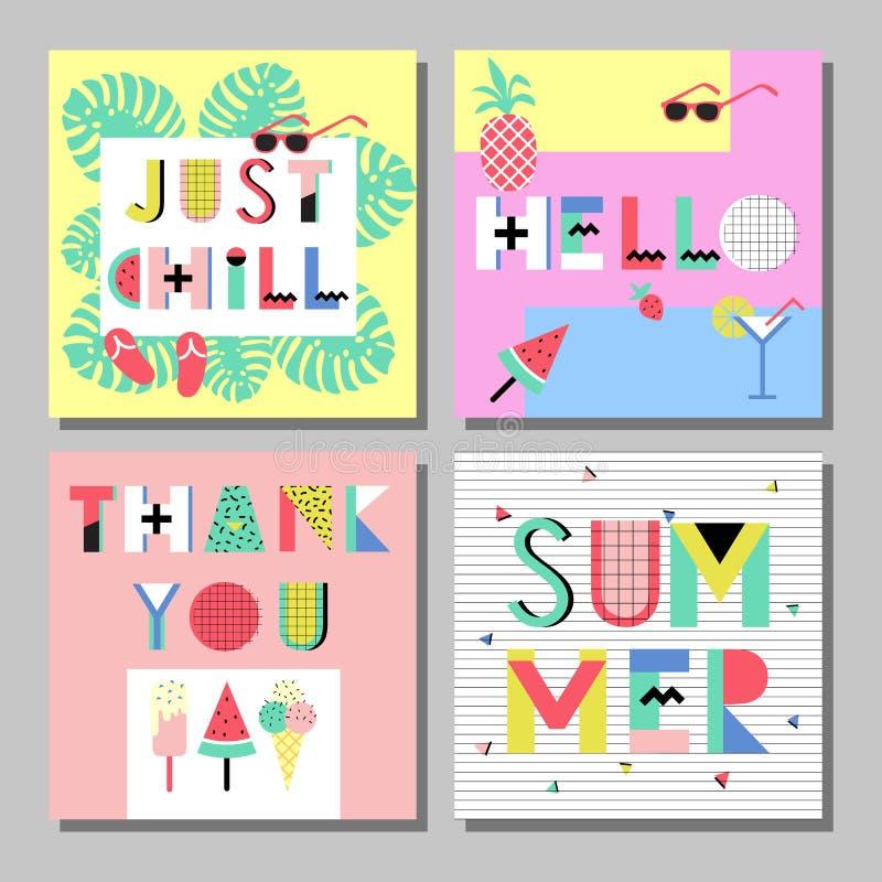 Sistema de tarjetas brillante del estilo de Memphis del verano Diseño con la comida geométrica de los elementos stock de ilustración