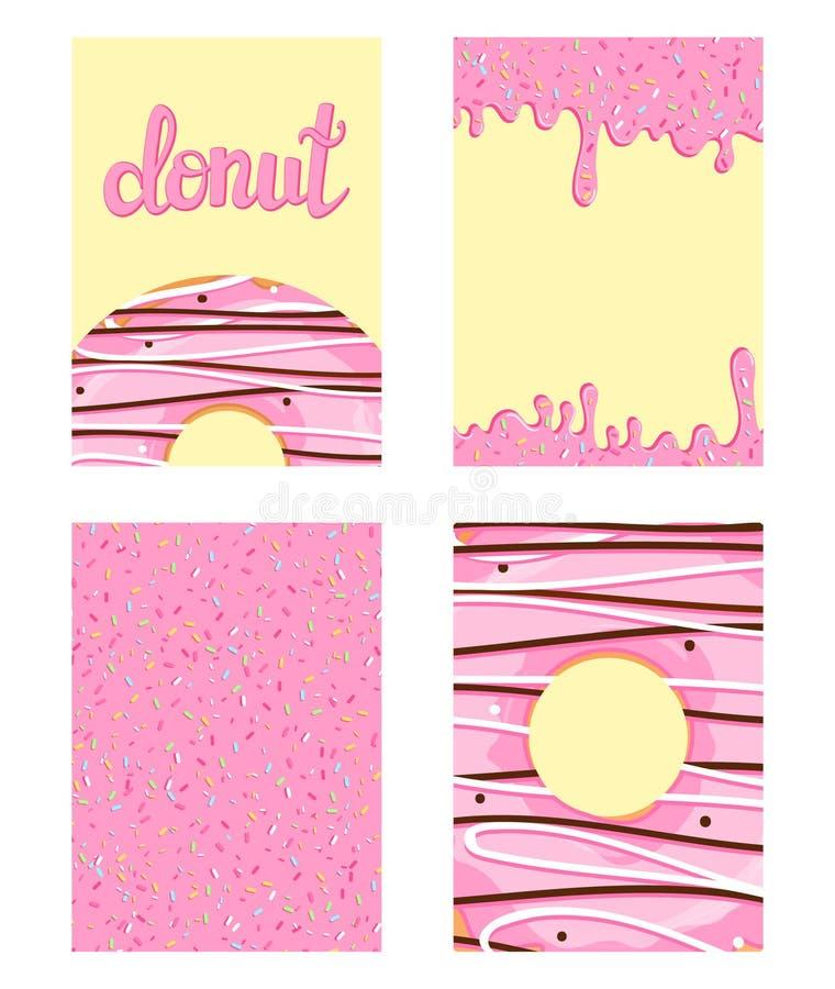 Sistema de tarjetas brillantes de la comida Sistema de anillos de espuma con el esmalte rosado Modelo del buñuelo, fondo, tarjeta stock de ilustración