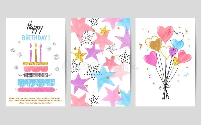Sistema de tarjetas colorido de la acuarela del feliz cumpleaños libre illustration