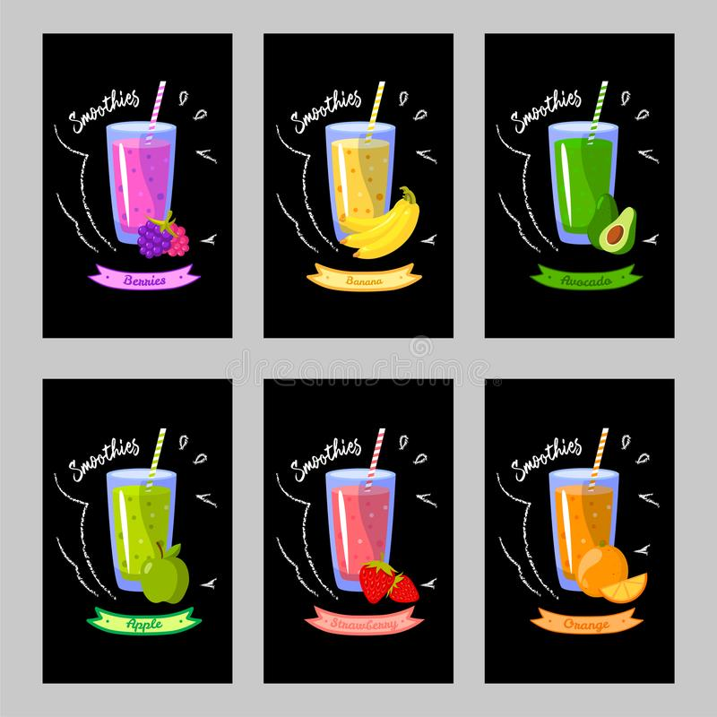 Sistema de tarjetas con diversos smoothies en un fondo negro stock de ilustración