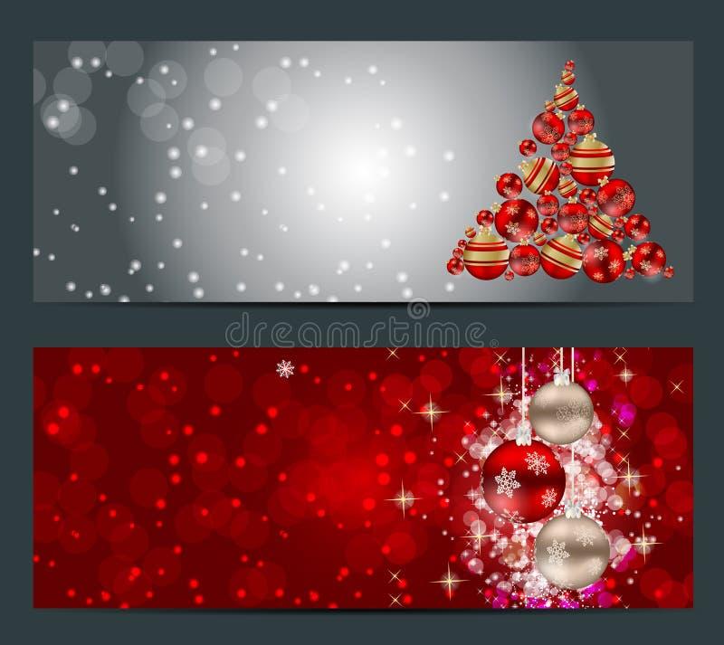 Sistema de tarjetas con las BOLAS de la Navidad, estrellas y ilustración del vector