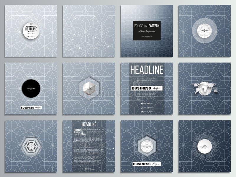 Sistema de 12 tarjetas creativas, diseño cuadrado de la plantilla del folleto Fondo floral abstracto del negocio, vector elegante stock de ilustración