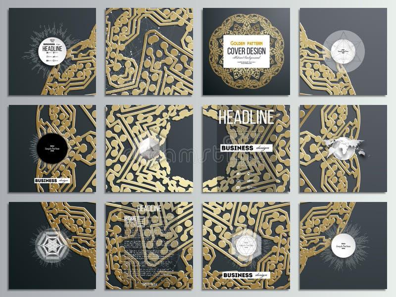 Sistema de 12 tarjetas creativas, diseño cuadrado de la plantilla del folleto Modelo de oro del microchip en fondo oscuro con la  stock de ilustración