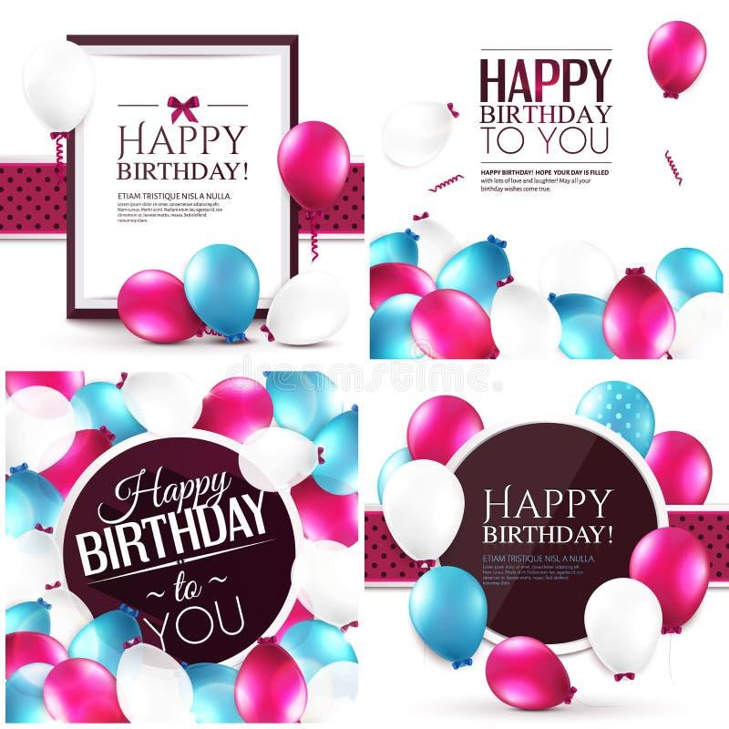Sistema de tarjetas de cumpleaños coloridas ilustración del vector
