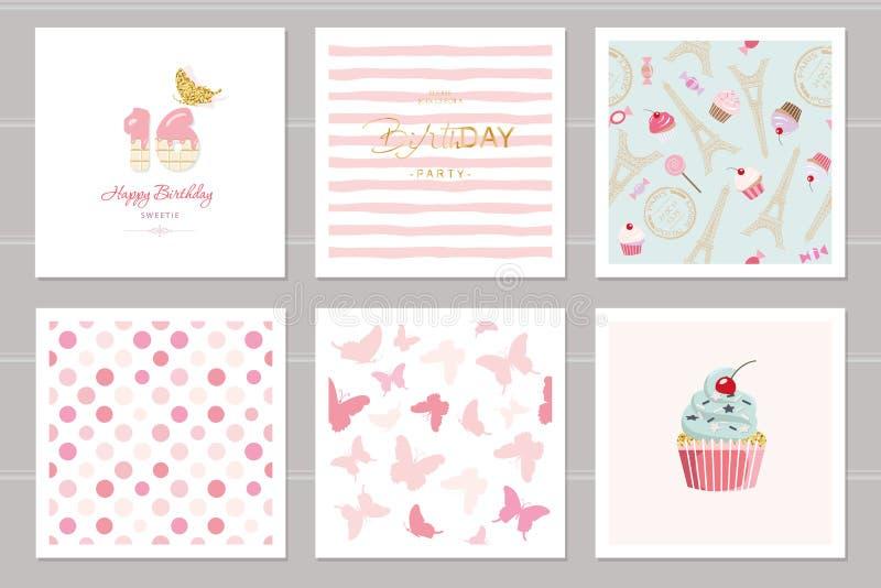 Sistema de tarjetas de cumpleaños para los adolescentes Incluyendo modelos inconsútiles en rosa en colores pastel Dulce 16, marip stock de ilustración