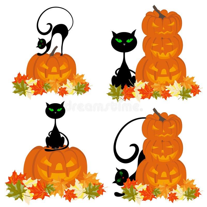 Sistema de tarjetas de felicitación de Halloween ilustración del vector