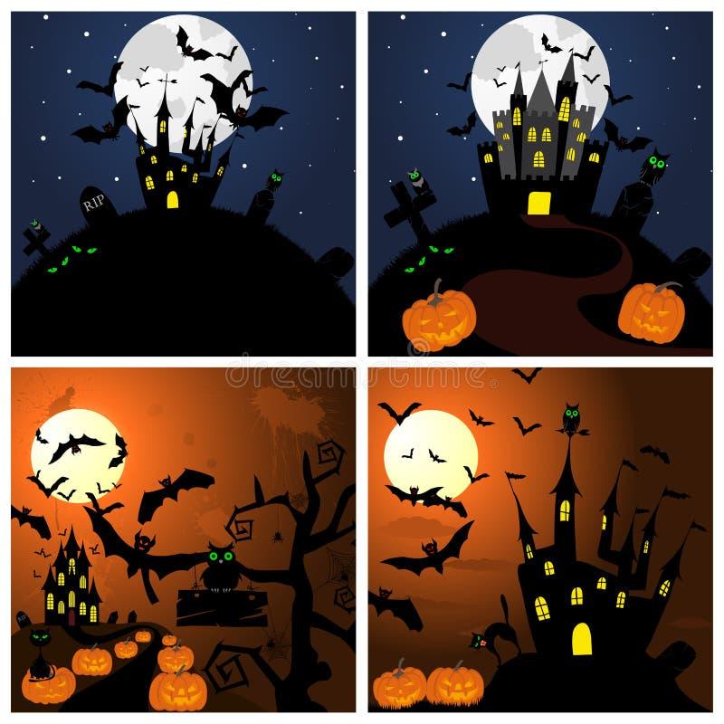 Sistema de tarjetas de felicitación de Halloween libre illustration