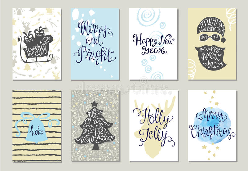 Sistema de tarjetas de felicitación de la Navidad libre illustration