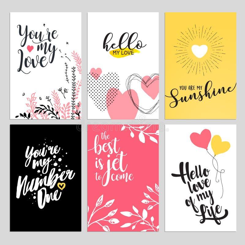 Sistema de tarjetas de felicitación del día de San Valentín stock de ilustración