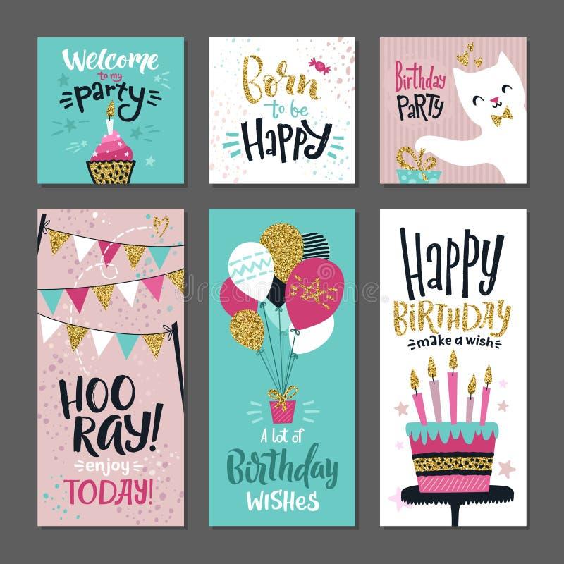 Sistema de tarjetas de felicitaciones Invitación para la fiesta de cumpleaños Plantilla del diseño del vector con palabras de las ilustración del vector