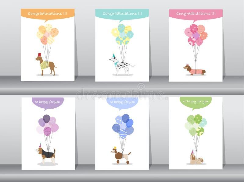 Sistema de tarjetas de la enhorabuena, cartel, plantilla, tarjetas de felicitación, dulce, globos, animales, perros, ejemplos del libre illustration