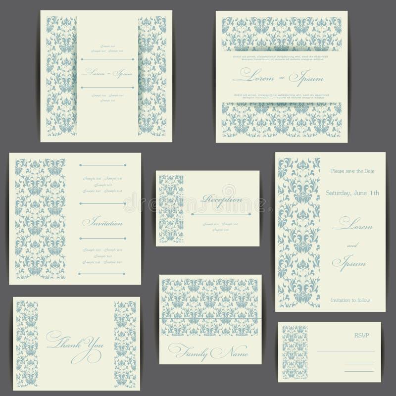 Sistema de tarjetas de la invitación de la boda stock de ilustración