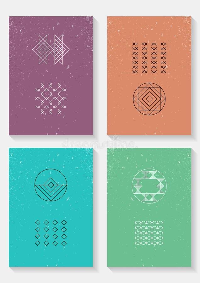 Sistema de tarjetas de moda del vector con los iconos geométricos ilustración del vector