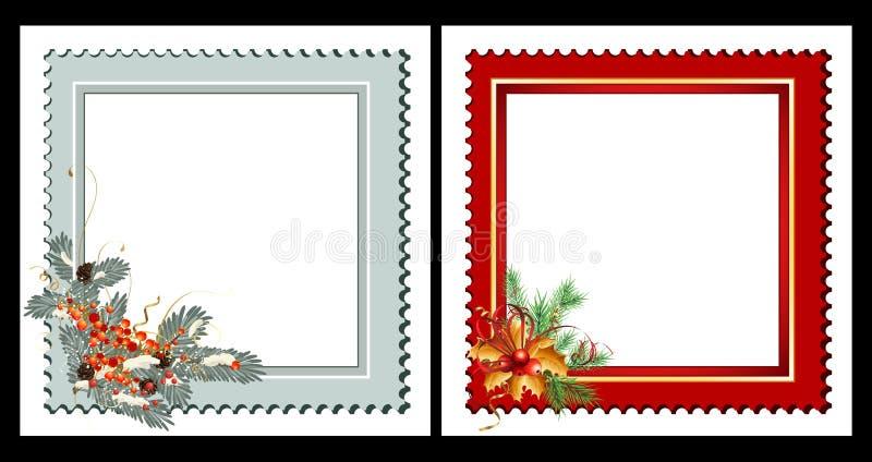 Sistema de 2 tarjetas de Navidad stock de ilustración