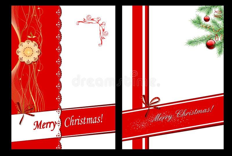Sistema de 2 tarjetas de Navidad ilustración del vector