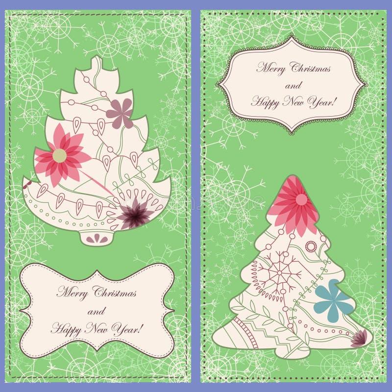 Sistema de tarjetas de Navidad con los árboles y el vintage de los copos de nieve libre illustration