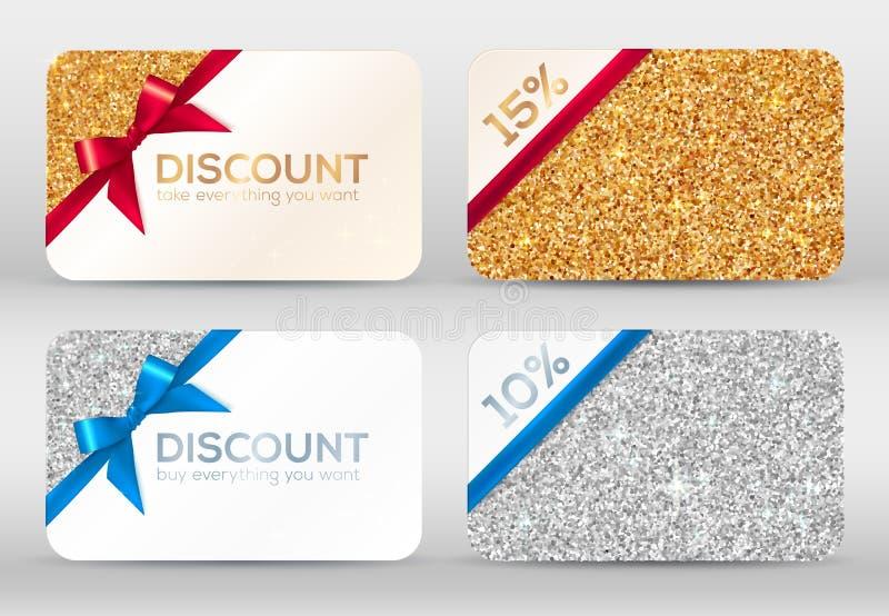 Sistema de tarjetas de oro y de plata del descuento del brillo ilustración del vector