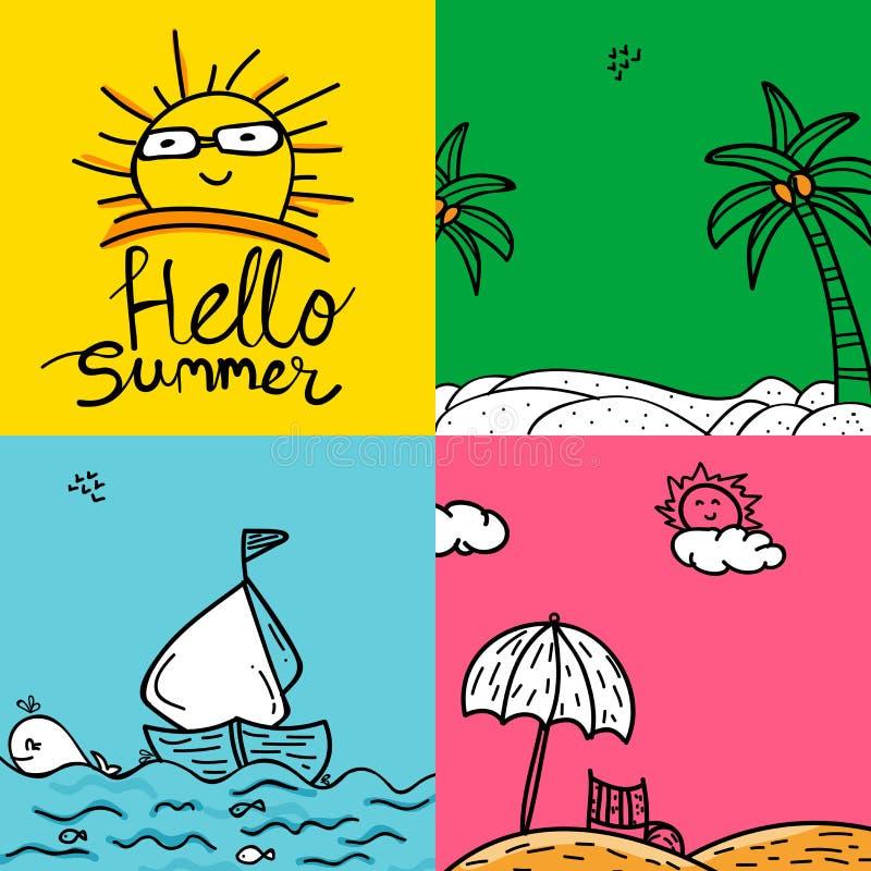 Sistema de tarjetas de verano coloridas en estilo del garabato libre illustration