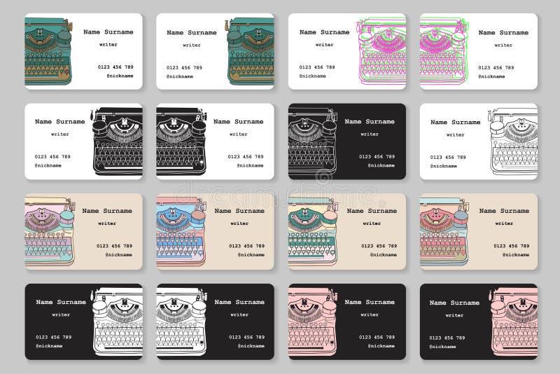 Sistema de tarjetas de visita con la máquina de escribir dibujada mano del vintage stock de ilustración