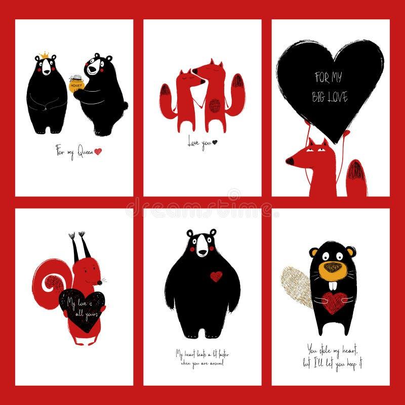 Sistema de tarjetas del amor con los animales libre illustration