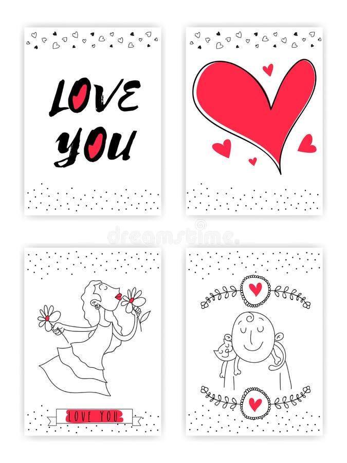 Sistema de tarjetas del amor del estilo del garabato con los corazones stock de ilustración